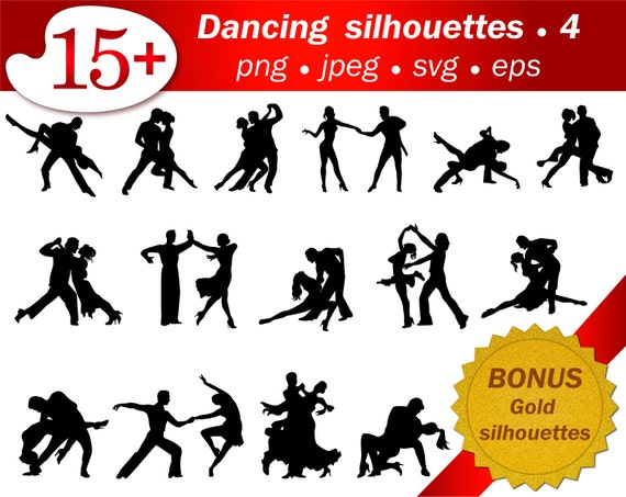 Ballroom Dancing Svg Silhouette Stencil Cricut People Dancer Etsy