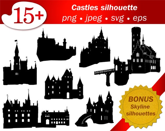 Castle Svg Silhouette Stencil Cameo Cricut Cutting Vector Etsy