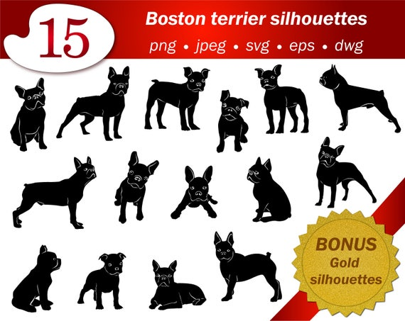 Boston Terrier Art Digital Clipart Dog Silhouette Cameo Cricut Etsy