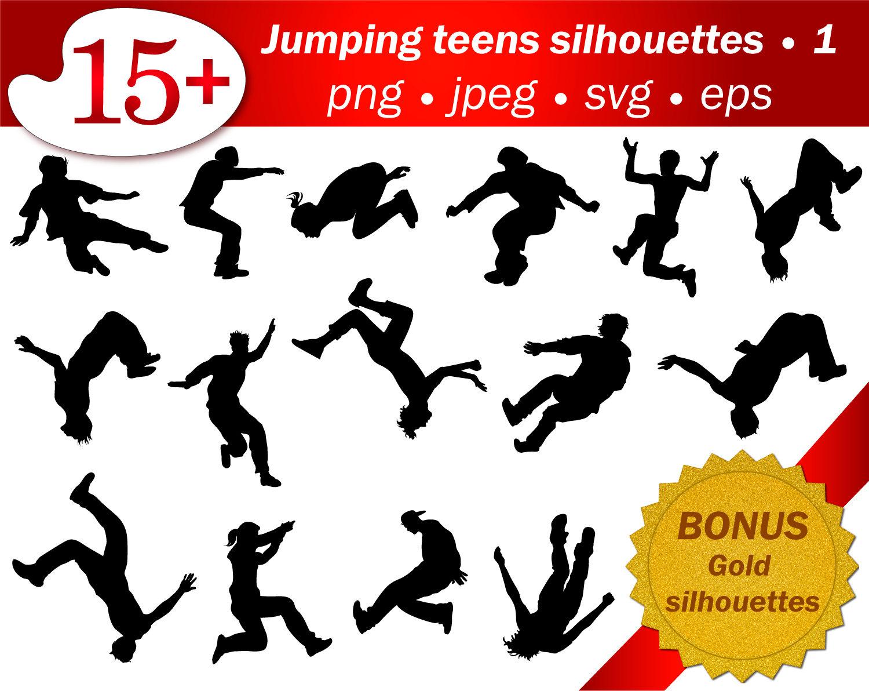 Springen Menschen Kontur Jugendliche Svg Schablone Vorlage Png