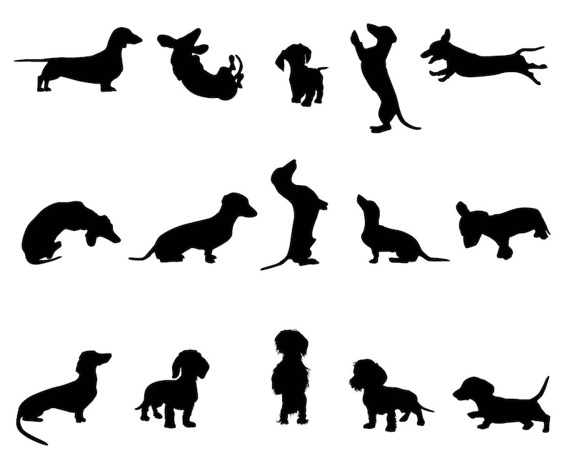 Download Dachshund digital dog puppy SVG silhouette cameo ...