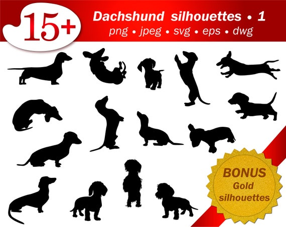 Dachshund Digital Dog Puppy SVG Silhouette Cameo Sublimation