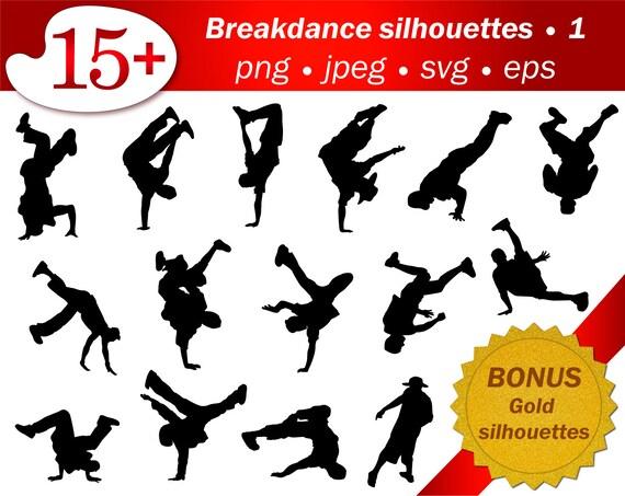 People Hip Hop Dancer Vector Silhouette Png Svg Clip Art Etsy