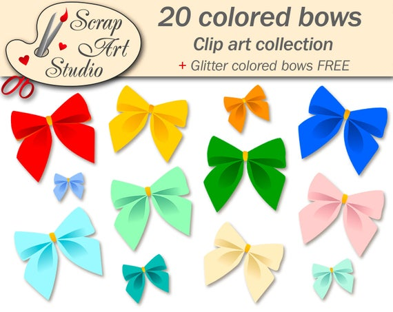 Scrapbooking Clip Art Colored Bows Invitations Greeting Etsy