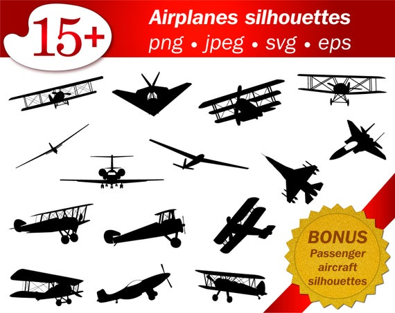 Planes Svg Silhouette Airplanes Png Stencil Template Cameo Etsy