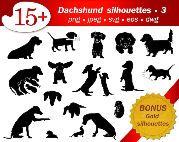 SVG Dachshund Silhouette Clipart Dog Puppy Cameo Cricut Cutting Stencil Template Vector Editable Printable Dwg Png Free Gold Glitter Adult