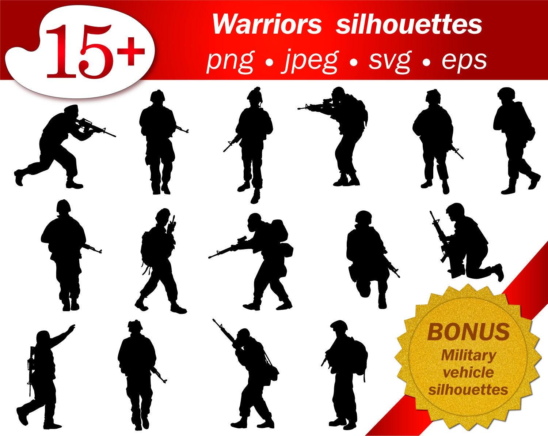 Krieger Soldat Armee militärische Clipart Kontur Menschen Svg | Etsy