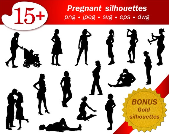 Pregnant Svg Women Silhouette People Vector Editable Cricut Etsy