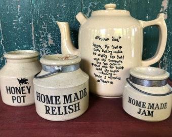 English Moira Pottery Pitcher & Jars | Pottery | Country | Farmhouse | Antique