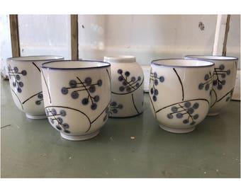 Bamboo Tea Cups (Set of 5) | Sake Cups | Mini Mugs | Porcelain | Japanese | Asian