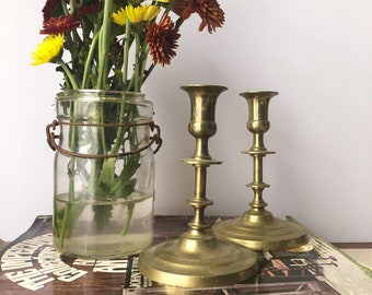 Vintage Gold Brass Candlesticks | Home Decor | Brass | Candles | Vintage Home | Holiday Decor