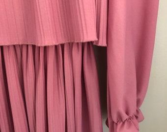 Betty: Vintage Boston Maid Dress | Long-Sleeve Dress | Spring Dress | Wedding | Pink | Lace
