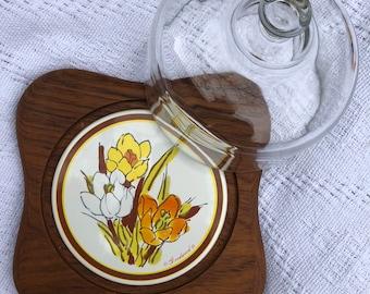 Goodwood Genuine Teak Crocus Flower Cheese Board | Kitchen | Dining | Dinner Party | Holidays | Home Decor | Vintage