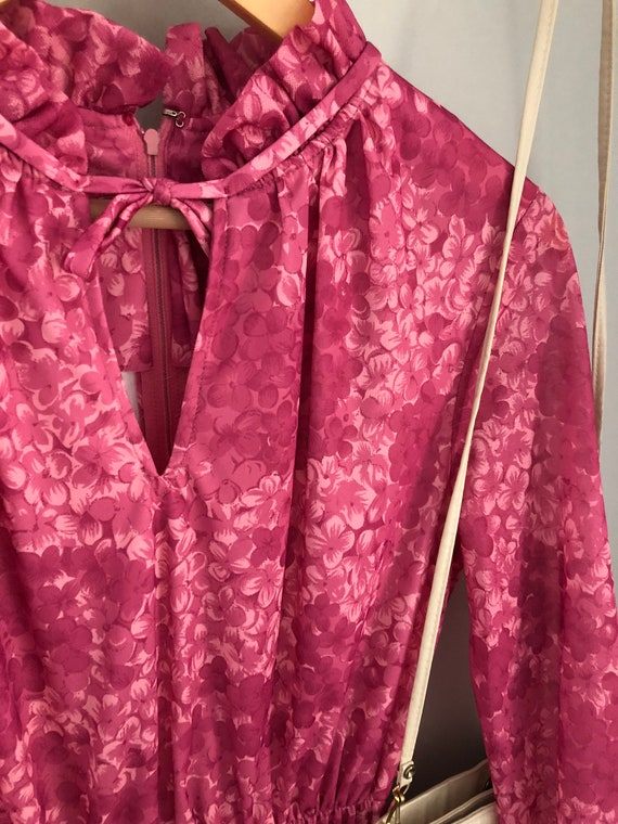 Pink Wedding Boho Eleanor: Vintage Floral Plum Dress Bohemian Purple Spring Dress Long-Sleeve Dress