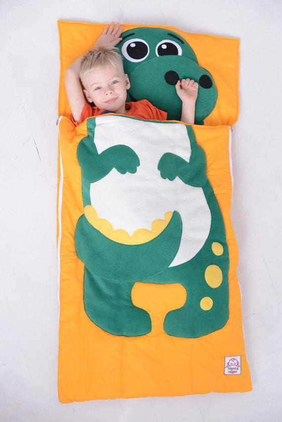 Toddler Sleeping Bag Dino Baby Bed Set Kids Pillow Etsy