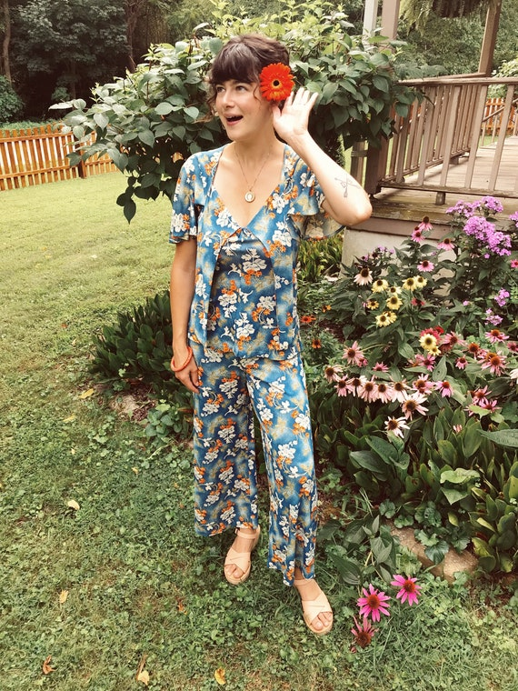 70s South Pacific Matching Two Piece Playsuit - image 2