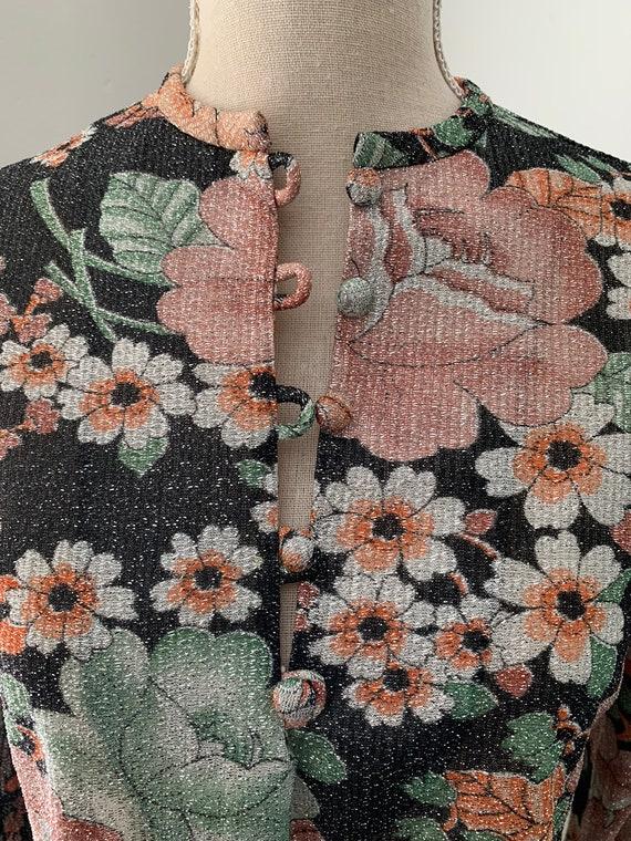 60s Metallic Floral Blouse - image 3