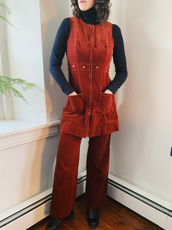 70s Burnt Orange Corduroy Two-Piece Suit