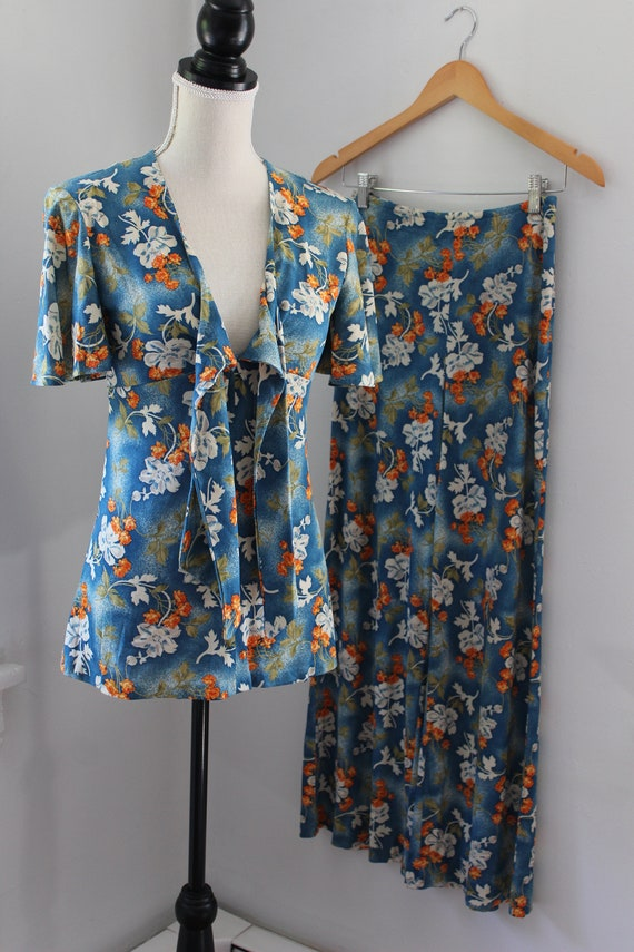 70s South Pacific Matching Two Piece Playsuit