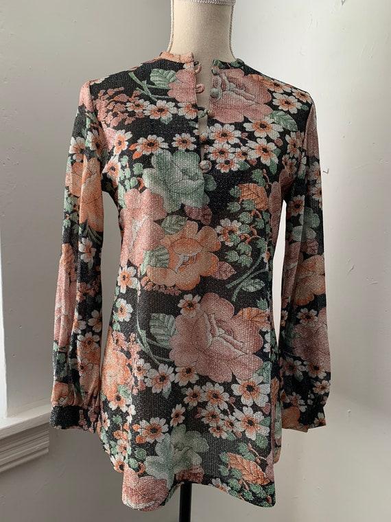 60s Metallic Floral Blouse - image 1