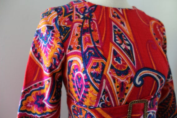 60s Psychedelic Mini Dress - image 4