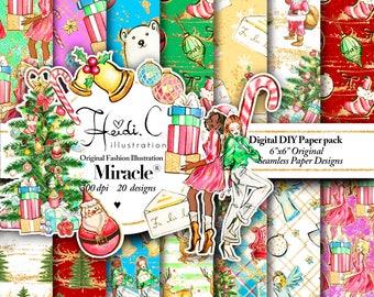 Christmas digital paper pack-Christmas paper-Christmas paper pack-Christmas clipart-Christmas Digital Paper-African American Clipart