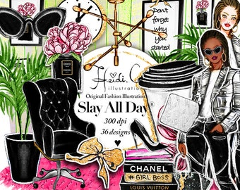 Fashion Clipart Elegant Clipart Black Planner Girl Clip Art Printable Stickers Chic African American Chanel Office Graphics Slay All Day