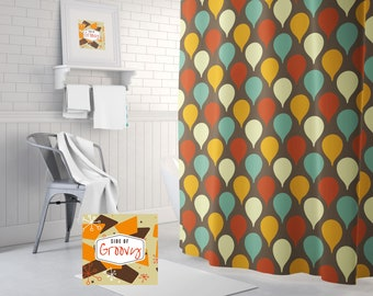 Retro Shower Curtain Mid Century Funky Vintage