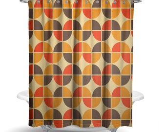 Retro Shower Curtain 70s Cool Mid Century Vintage