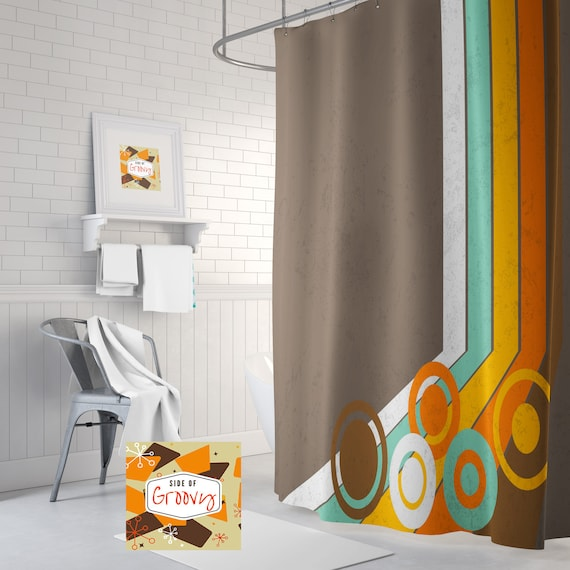 Retro Shower Curtain Mid Century Funky