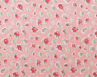 Peach Pink Tiny Calico Andover Cotton Fabric Baby Doll Clothes Quilting