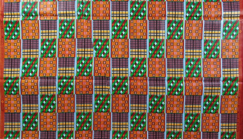 African KENTE Print Hitarget 100/% Cotton Blocks Green Red Yellow Black Sold By The Yard