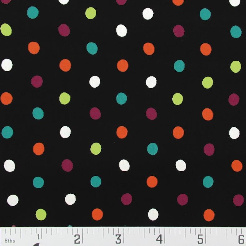Black White Teal Orange Purple Lime Polka Dot Cotton Quilting Fabric 32 x 43