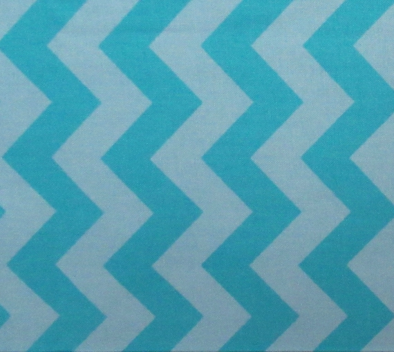 Turquoise & Light Blue Chevron Quilt Cotton Fabric Hobby Lobby By The YARD