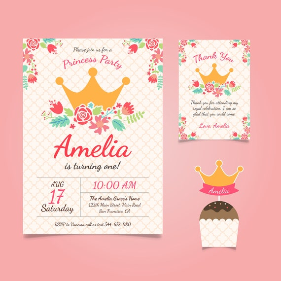 Princess Birthday Card Princess Invitation Princess Etsy