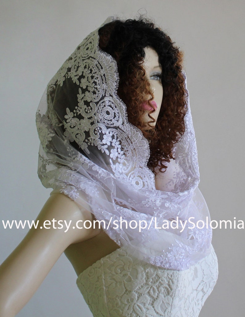 White Catholic Veil Catholic Chapel Veil, White Bridal mantilla Lace Head Covering Religious Head Covering Lace Wedding scarf