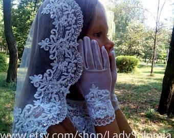 Mantilla Communion + Gloves, Flower Girl Gloves, White First Communion Gloves, Ivory First Communion Veil, Little girls veil, Holy Communion