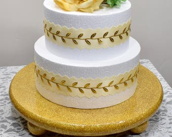 READY TO SHIP*Custom made round gold cake stand*Round, gold glitter cake stand*15 inch cake stand*Wedding decor*Gold Bling Cake Stand*