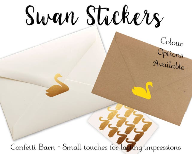 Wedding Invitation Stickers: Swan Stickers Wedding Invitation Envelope Seals Party