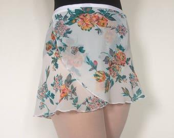 Adult Chiffon Ballet Wrap Skirt - White Floral