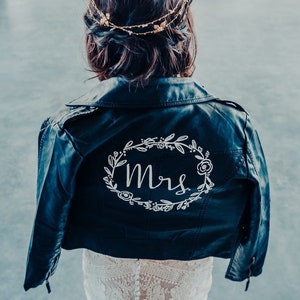 Hand Painted Mrs Vegan Leather Jacket With Wedding Date  MRS Leather Jacket  Bride Jacket  Married Jacket  Bride Accessory