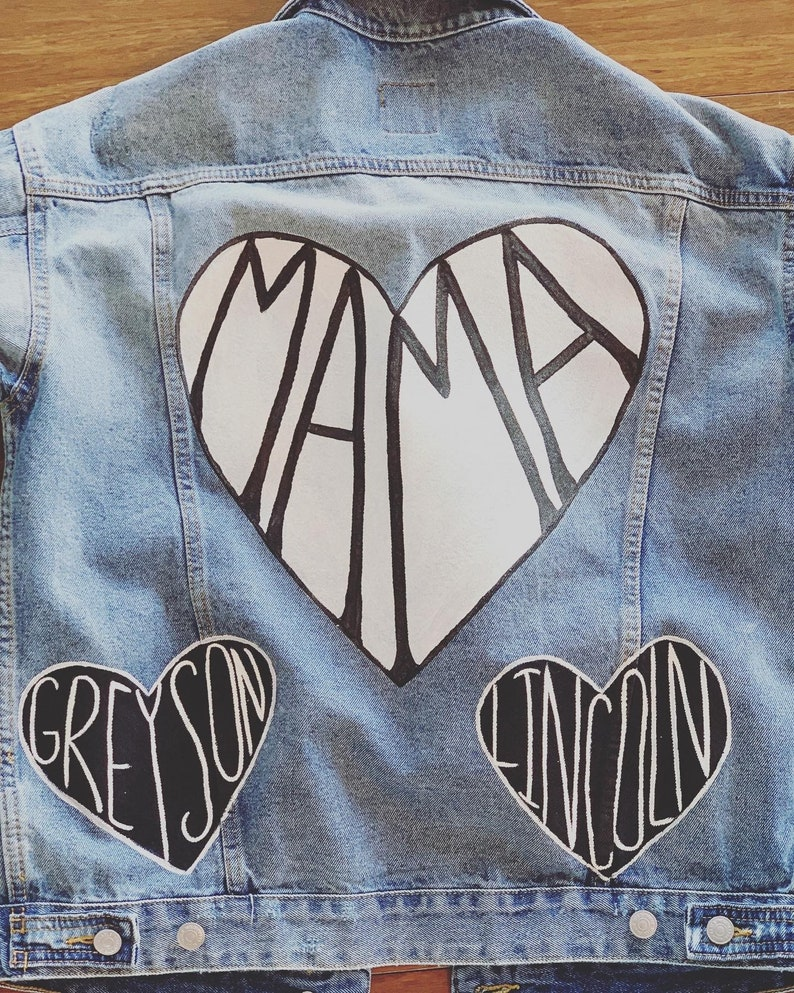 Hand Painted Mama Jean Jacket With Kids Names Mama painted heart with babies names Mom Life Jacket  Mommy Jean Jacket Rae Dunn Inspo