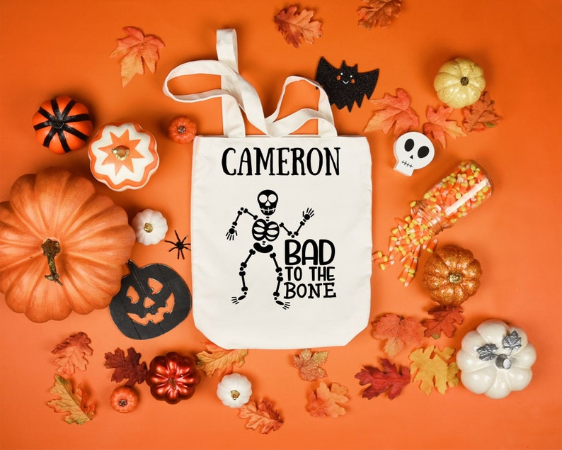 Personalized Halloween Treat Bag Bad to the Bone Halloween Candy Bag Reusable Gifts for Kids Halloween Trick-or-Treat Candy Bag Fall Bag