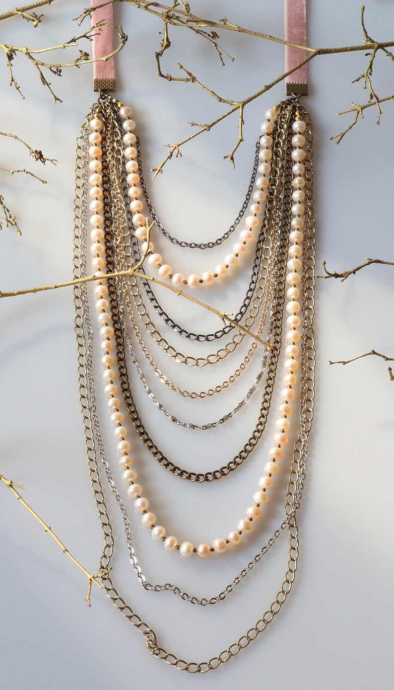 Long Layered Beaded Necklace Bohemian Jewelry Mix Metal Chain and Freshwater Pearl Necklace Statement Jewelry Long Multi Strand Necklace