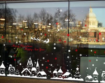 TOTOMO #W301 Christmas Town Window Decals Stickers Decor Clings Wall Decoration