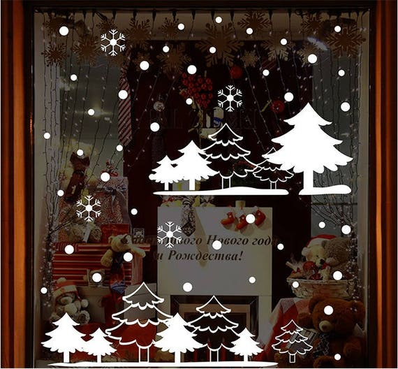 Christmas Window Decals.Totomo W303 White Forest Christmas Window Decals Stickers Decor Clings Wall Decoration