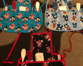Mickey Mouse/ Mini Mouse kid toddler aprons with kitchen utensils