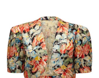 1930s Floral Lame Jacket Size 12