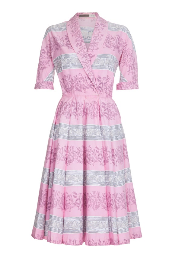 1950s Horrockses Pink Cotton Leaf Print Dress Size