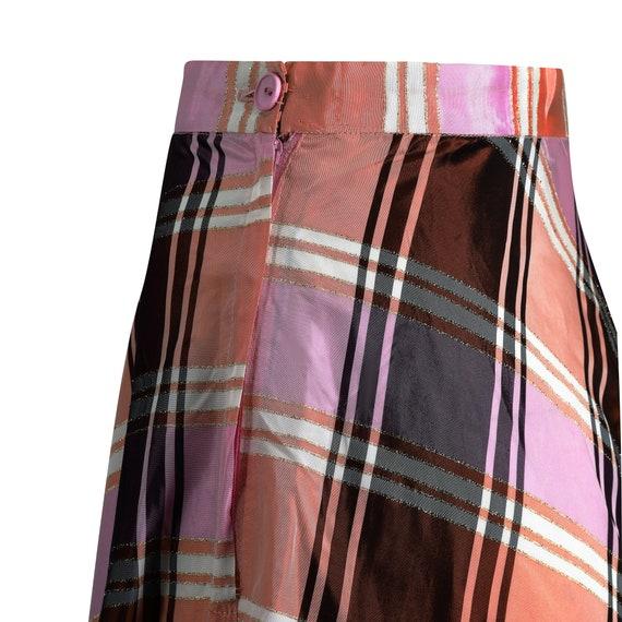 1970s A-line Plaid Pattern Metallic Weave Skirt - image 4